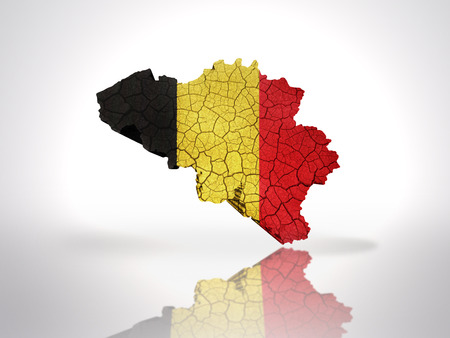Map of Belgium with Belgian Flag on a white background photo