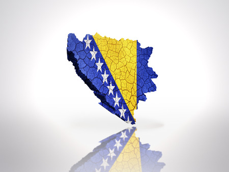 bosnian: Map of Bosnia and Herzegovina with Bosnian Flag on a white background