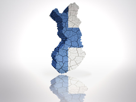 finnish: Map of Finland with Finnish Flag on a white background Stock Photo