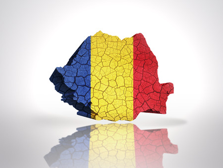 romanian: Map of Romania with Romanian Flag on a white background