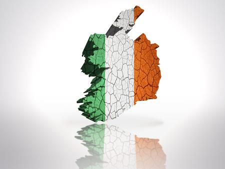 irish map: Map of Ireland with Irish Flag on a white background