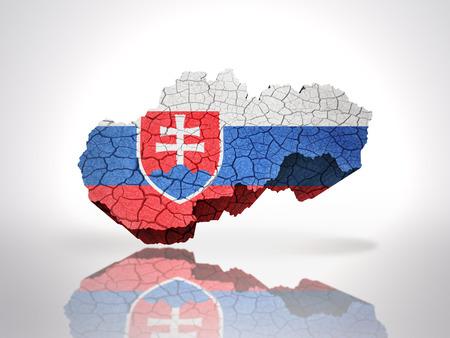 slovak: Map of Slovakia with Slovak Flag on a white background