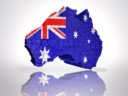Map of Australia with Australian Flag on a white background photo