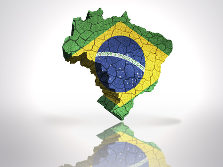 Map of Brazil  with Brazilian Flag on a white background photo