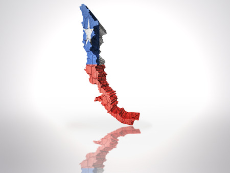 Map of Chile  with Chilean Flag on a white background photo