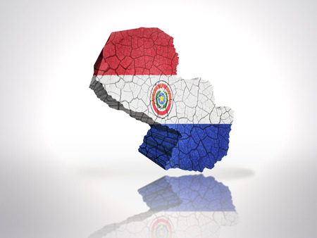 paraguayan: Map of Paraguay  with Paraguayan Flag on a white background