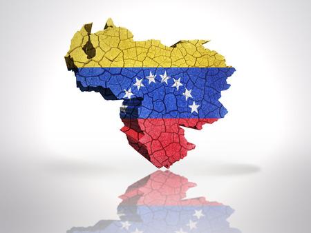 venezuelan: Map of Venezuela with Venezuelan Flag on a white background