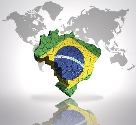 Map of Brazil  with Brazilian Flag on a world map background photo