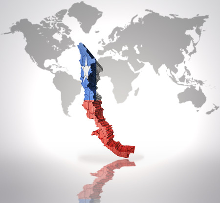 Map of Chile  with Chilean Flag on a world map background photo