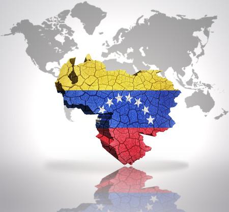 venezuelan: Map of Venezuela with Venezuelan Flag on a world map background