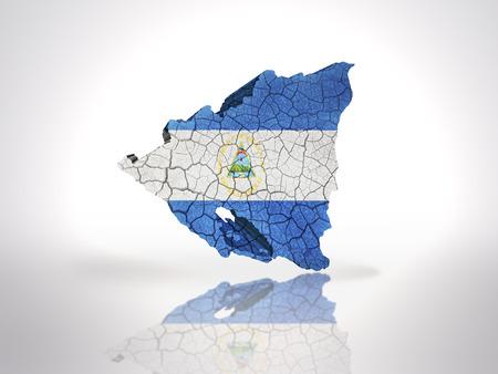 nicaraguan: Map of  Nicaragua with Nicaraguan Flag on a white background