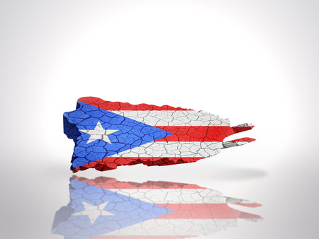 puerto rican flag: Map of Puerto Rico with Puerto Rican Flag on a white background