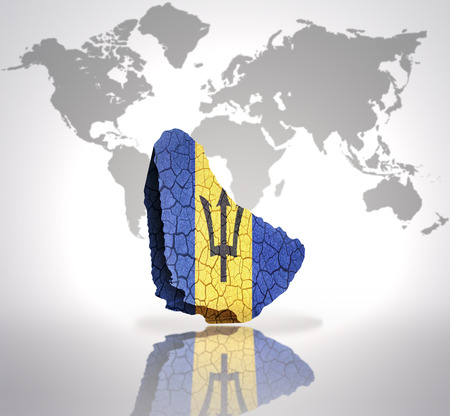 Map of Barbados with Barbados Flag on a world map background photo