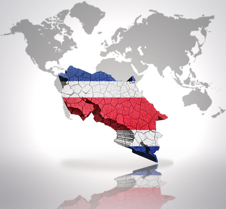 costa rican flag: Map of Costa Rica with Costa Rican Flag on a world map background