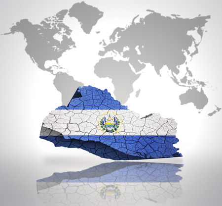 el salvador flag: Map of El Salvador with El Salvador Flag on a world map background Stock Photo