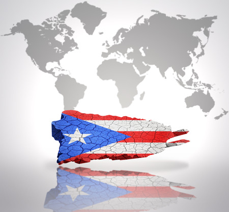 puerto rican: Map of Puerto Rico with Puerto Rican Flag on a world map background Stock Photo