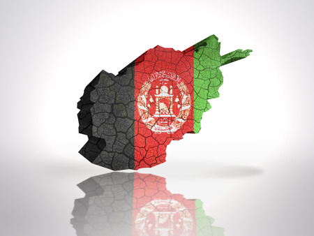 Map of Afghanistan  with Afghan Flag on a white background photo