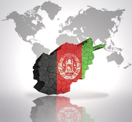 Map of Afghanistan  with Afghan Flag on a world map background photo