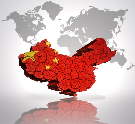 Map of China  with Chinese Flag on a world map background photo
