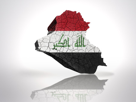 iraqi: Map of Iraq with Iraqi Flag on a white background