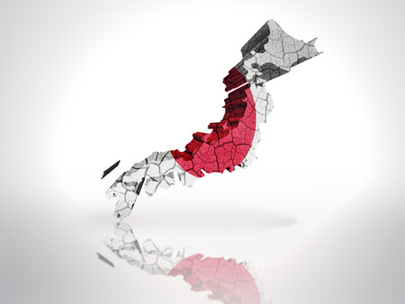 Map of Japan with Japanese Flag on a white background photo
