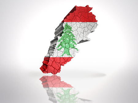 beirut: Map of Lebanon with Lebanese Flag on a white background