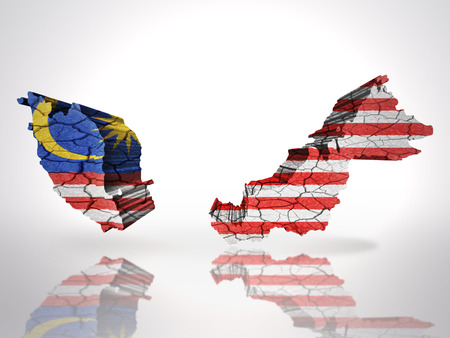 Map of Malaysia with Malaysian Flag on a white background photo
