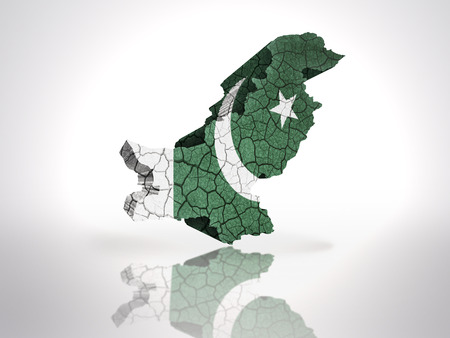 pakistani: Map of Pakistan with Pakistani Flag on a white background Stock Photo