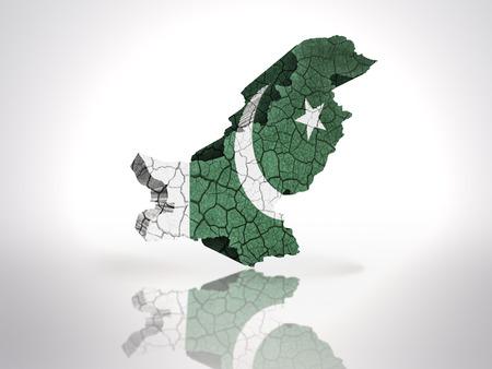 pakistani pakistan: Map of Pakistan with Pakistani Flag on a white background Stock Photo