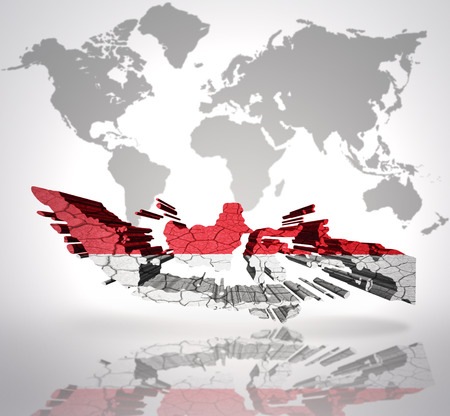 the indonesian flag: Map of Indonesia with Indonesian Flag on a world map background Stock Photo