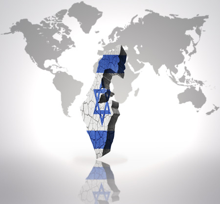 Map Of Israel With Israeli Flag On A World Map Background