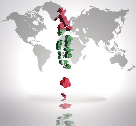maldives island: Map of Maldives with Maldives Flag on a world map background