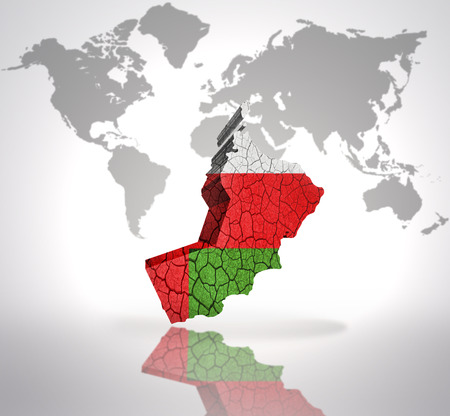 mideast: Map of Oman with Oman Flag on a world map background Stock Photo