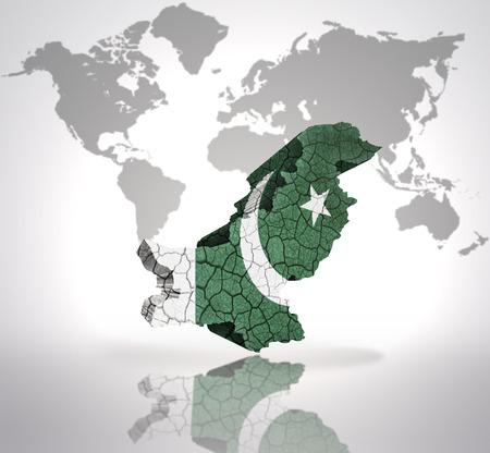 pakistani pakistan: Map of Pakistan with Pakistani Flag on a world map background Stock Photo