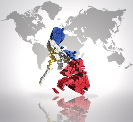 Map of Philippines with Philippine Flag on a world map background