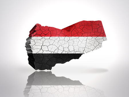 mideast: Map of Yemen with Yemen Flag on a white background