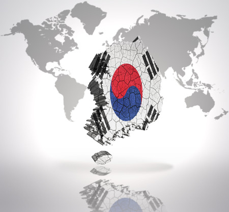 Map of South Korea with Korean Flag on a world map background photo
