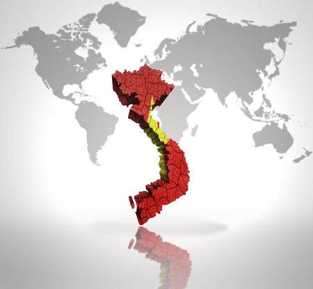 Map of Vietnam with Vietnamese Flag on a world map background photo
