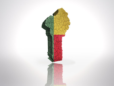 Map of Benin  with Benin  Flag on a white background photo