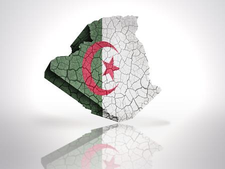 Algierski: Mapa Algierii z Algierii flagi na białym tle
