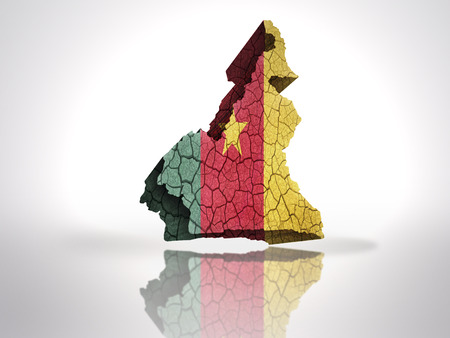 cameroonian: Map of Cameroon with Cameroonian Flag on a white background
