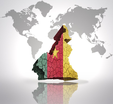 cameroonian: Map of Cameroon with Cameroonian Flag on a world map background Stock Photo