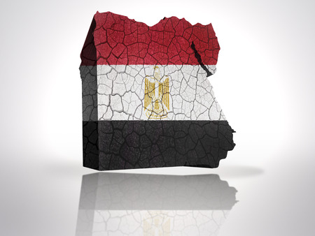 Map of Egypt with Egyptian Flag on a white background photo