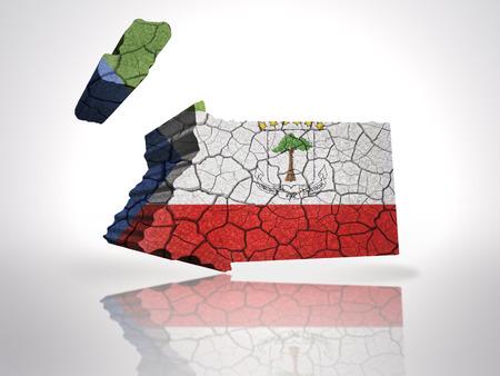 equatorial: Map of Equatorial Guinea  with Equatorial Guinea  Flag on a white background Stock Photo