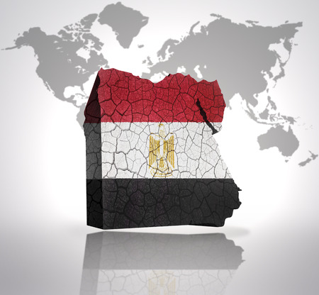 Map of Egypt  with Egyptian Flag on a world map background photo