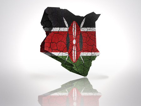 Map of Kenya with Kenyan Flag on a white background photo