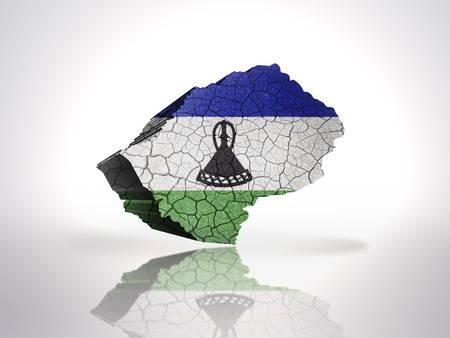 LESOTHO: Map of Lesotho with Lesotho Flag on a white background