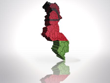 malawi: Map of Malawi with Malawi Flag on a white background