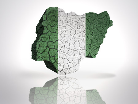 Map of Nigeria with Nigerian Flag on a white background