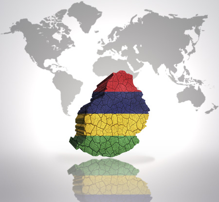 mauritius: Map of Mauritius with Mauritius Flag on a world map background